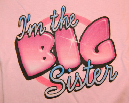I/'M THE BIG SISTER T-Shirt sizes Toddler 2T-4T Youth XS-XL GIRLS white pink