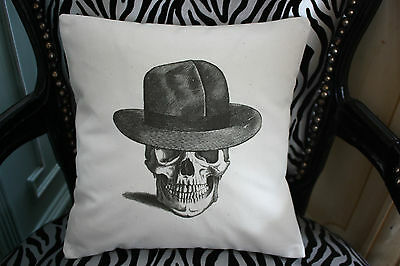 VINTAGE STYLE, CALICO, SKULL CUSHION COVER WITH TRILBY HAT, SHABBY RETRO GOTHIC