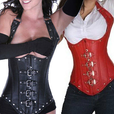 Faux Leather Under Bust Corset -Black Red - Bondage Fetish Goth Club Rave