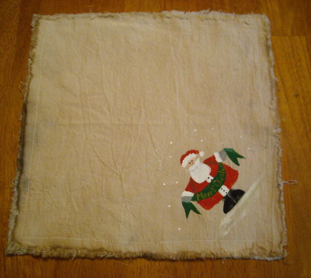 "MERRY CHRISTMAS SANTA Handpainted Candle Mat 10"" square"