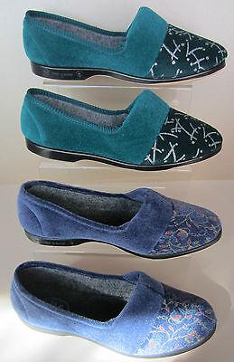 Damen Hausschuhe - Lynne Style - Textil Opal / Silber und Heidelbeere Verfügbar