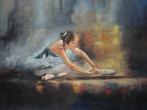 Ballerina-Oil-Painting-28x16-not-poster-or-print-Abstract-art-Fine-art-Ballet