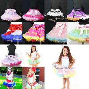 DOUBLE COLOR Multi-List Pettiskirt Skirt Petti Party Dance Tutu Dress Girl 1-8Y