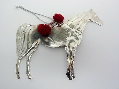 Christmas MILAGRO Horse Hanging Ornament Silver Tin GOOD LUCK New Equestrian