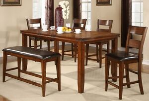 Mango 9 Piece Dining Set Table w/Leaf and 8 Chairs Counter Height NEW! Furniture