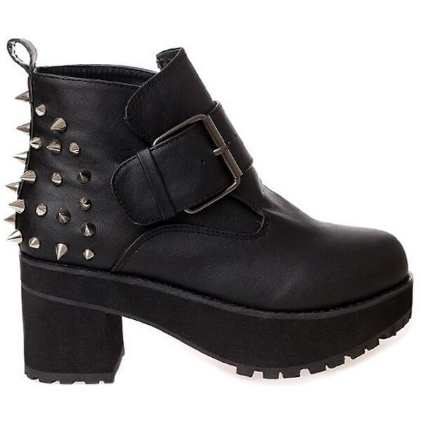 Spike Studded Punk Womens Black Block Heels Round Toe Buckle Ankle Boot Shoe 2-6