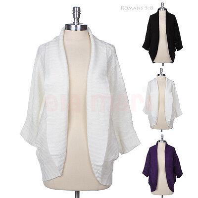 Olamari Cable KNIT WARM Sweater Dolman Sleeve Cocoon Open SHRUG Cardigan S M L