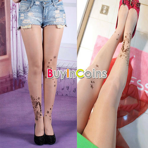 Unicorn Cute Transparent Tattoo Stockings Pantyhose HDF
