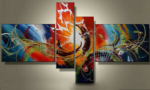 MODERN-ABSTRACT-HUGE-WALL-ART-OIL-PAINTING-ON-CANVAS-4PC-No-Frame-free-ship