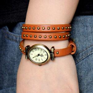 Geunine-leather-long-strap-mosaic-rivets-quartz-woman-watch-brown