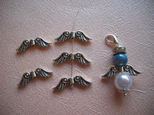 5-200 Wings Rhinestone Beads Spacer Metal tinker Angel wings silver gold DIY