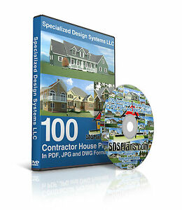 100 Contractor House Plans DVD in DWG PDF and JPG