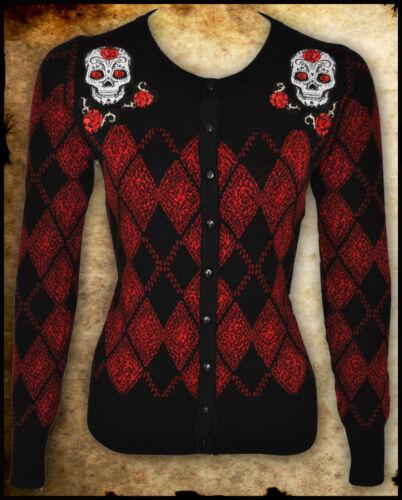 BLACK RED SKULL ARGYLE ROCKABILLY TATTOO CARDIGAN GOTH PUNK SWEATER TOP PIN UP