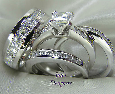 His Hers Engagement Wedding Band Ring Set Sterling Silver Mens Womens, Sz 4-13½