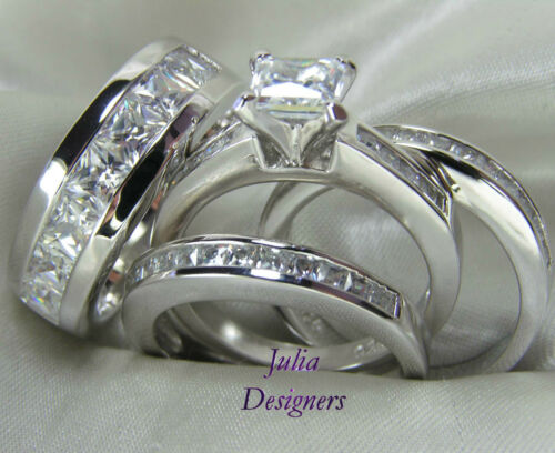 his hers engagement wedding band ring set sterling silver mens womens sz 4 13 - Affordable Wedding Ring Sets
