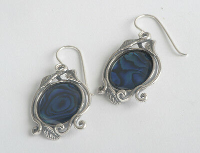 E01958BS HABLOOL ISRAEL Didae Amazing Blue Abalone Sterling Silver 925 Earrings