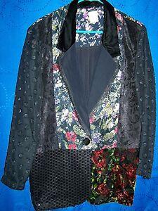 Womens-JUDY-KNAPP-Black-w-Mult-Color-Fabrics-Blazer-size-S
