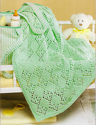"Aran Baby Blanket Diamond Lacy ""Best Friends""  Knitting Pattern 34"" x 48"""