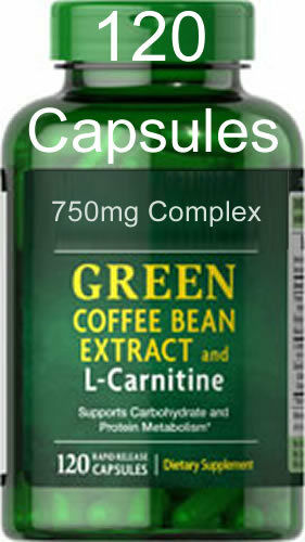 Green Coffee Bean Extract & L-Carnitine 45% Chlorogenic Acid 120 capsules (pure)