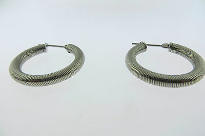 Stainless Steel Women's Brushed  Hoop 1 Inch Round  Earrings light Weight