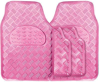 Metallic Girls Pink Heavy Duty Checker Plate Rubber Interior Car Floor Mats Set