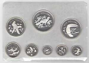 BELIZE-PROOF-8-DIF-COINS-SET-1974-YEAR-KM-38-45a-SILVER-PS2-IN-BOX-COA-BIRDS