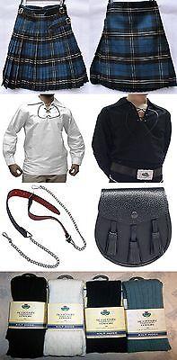Great Gift: Mens Package 8 Yard Kilt Shirt Hose Sporran Belt Ramsay Blue Tartan