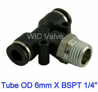 """5pcs Branch Tee Pneumatic Push In Fitting Tube OD 6mm X R1/4"""" Quick Release"""