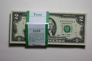 1-Crisp-Uncirculated-2-Two-Dollar-Bill-US-Currency-Series-2009-Dallas-Mint