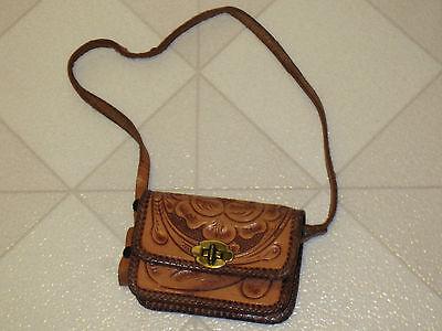 Purse Vintage 1950s Childrens Childs Kids Authentic Tooled Leather Shoulder Bag