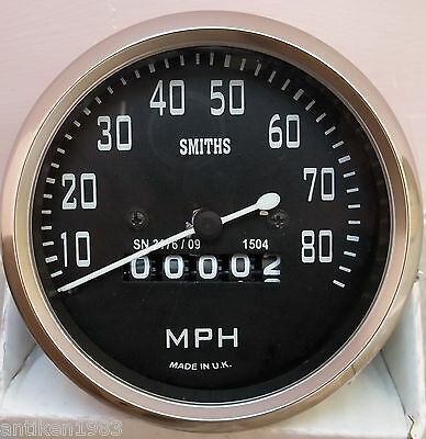 Smiths Replica Speedometer Royal Enfield Motorcycle 0-80 MPH Black BSA Norton