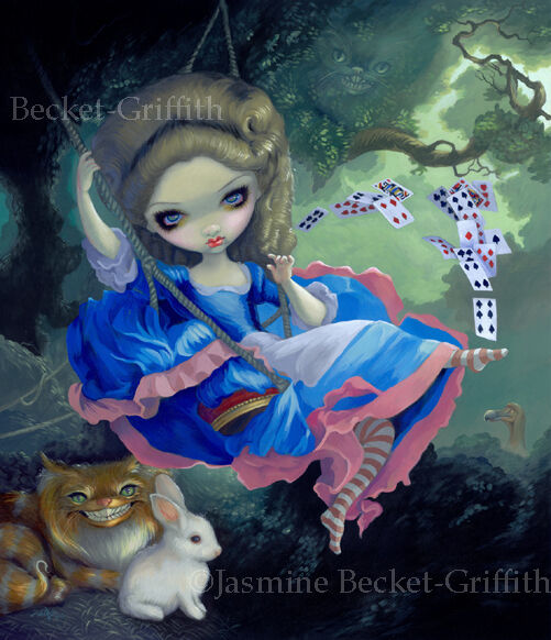 Jasmine Becket-Griffith art print SIGNED Alice in Fragonard's Swing cards rabbit