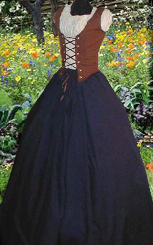 WOMEN RENAISSANCE PEASANT PIRATE DRESS Bodice Skirt 2 4 6 8 10 12 14 16 18 22 24