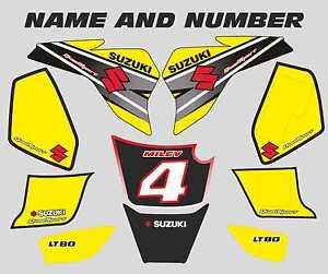 suzuki lt80 quad graphics stickers decals name & number lt 80 mx