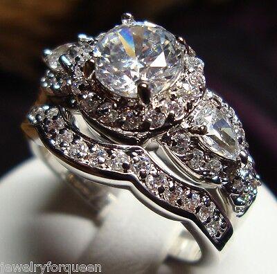 Gorgeous 2pcs Vintage Style 2.31ctw CZ Engagement Wedding Ring set 18K GP size 5