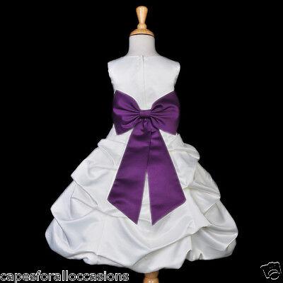 WHITE PLUM PURPLE EASTER COMMUNION WEDDING FLOWER GIRL DRESS 2 4 6 8 10 12 14 16