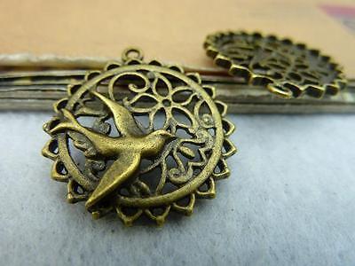 10pcs 25mm Antique Bronze Beautiful Filigree Bird Flower Cage Charm Pendant C244