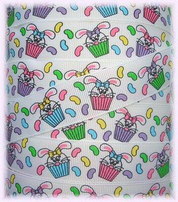 7/8 EASTER BUNNY RABBIT CUPCAKE JELLYBEAN GROSGRAIN RIBBON 4 HAIRBOW BOW