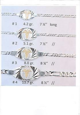 925 Sterling Silver Figaro Medical Alert Bracelet w/ 10K gold symbol  4.2 grams