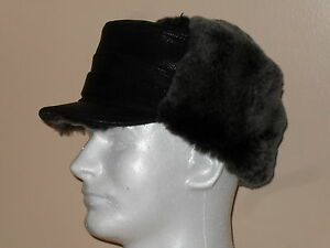 NEW-Black-Sheepskin-Shearling-Leather-Fur-Captain-Elmer-Fudd-Winter-Men-Hat-LXXL