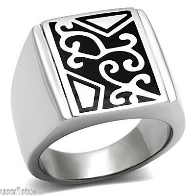 Top Filigree Design Silver Stainless Steel No Stone Mens Floral Ring
