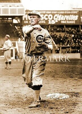 Johnny Evers Plays Catch 8x10 Vintage Photo Chicago Cubs MLB Baseball