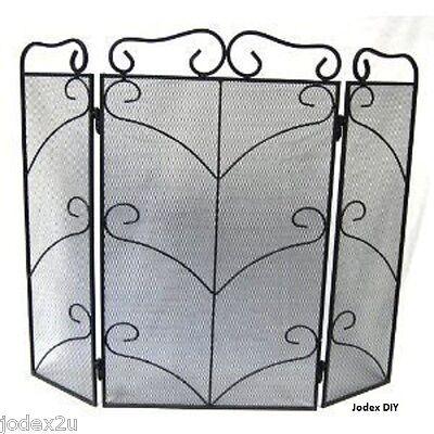 "3 panel Black heavy metal 28"" Fire screen spark guard Decorative scroll Fire 102"