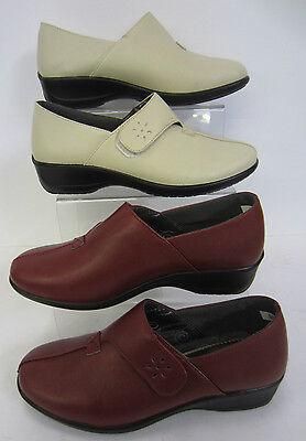 Señoras Dr cringles calzado informal, con ligero cuña. colours-burgundy & Beige £ 7,99!