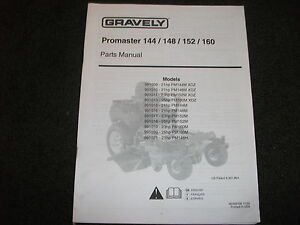 gravely promaster 144 148 152 160 parts manual ebay