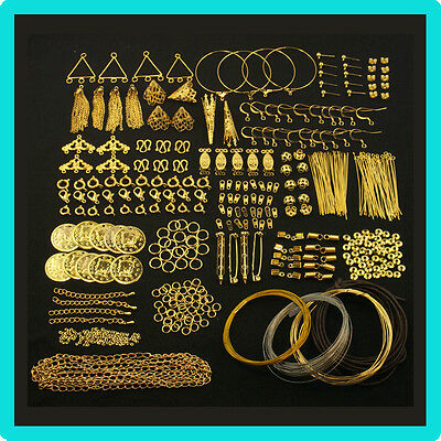Gold Findings Kit For Jewellery Making & Beading Pins,Clasps,Chain,Crimps,Wire