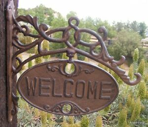 Cast-Iron-GO-AWAY-WELCOME-Swivel-Wall-Mounted-Sign