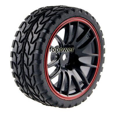 4pcs RC Flat Racing Tires Tyre Wheel Rim Fit HSP HPI 1:10 On-Road Car 9068-6017