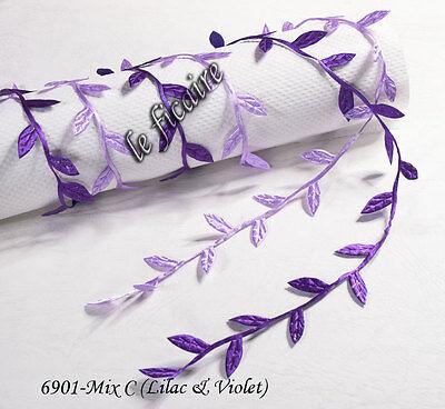 """U PICK COLOR~ 1"""" Satin Leaf Leaves Vine Garlands Ribbon Sew On Lace Trims #6901"""
