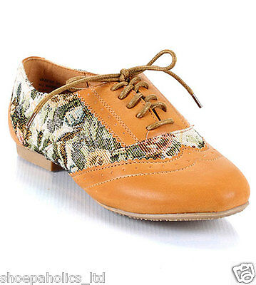 Floral Tapestry Lace Up Oxford Flats NATURAL Size 6.5 to 10